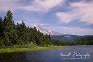Mt Hood in the distance; Looking northward over Trillium Lake Oregon