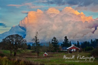 Near Aurora, Oregon; Unusual cloud formation comeing from the east and south
