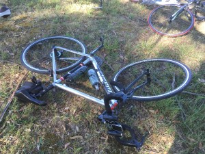 Even my bike's tired...some idiot put it chain ring side down...d'oh.