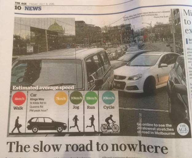 Ha...proof that bikes are faster than cars in Melbourne.