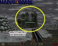 Ao chegar em um ponto do level avistamos uma fortaleza com cara de castelo e todo iluminado com luzes verdes. Podemos agora entender porque os portais dimensionais é de cor verde.