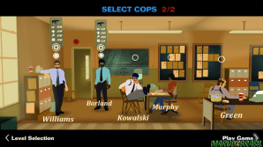 Escolha a sua dupla favorita, cada policial possui habilidades que podem ser melhoradas com base na sua pontuação.