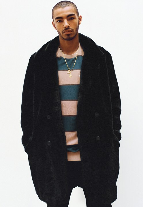 Faux Fur Double-Breasted Coat - Striped Twill Crewneck - Rib Logo Sweatpant