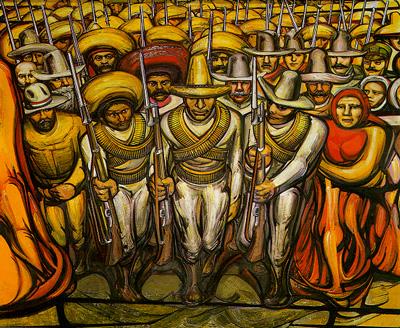 Detail of a mural by David Alafaro Siqueiros