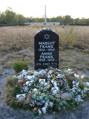 This memorial to Anne Frank and her sister, Margot, is at the former site of the Bergen-Belsen concentration site.