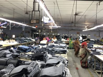 Ganesan is partnering with KG Denim, India's largest denim manufacturer, to set up a plant in Flint to produce masks. Pictured is a KG Denim plant in India.