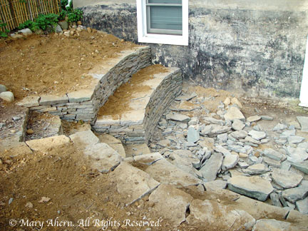 The new stone walls conformed to my intial semi-circular design concept