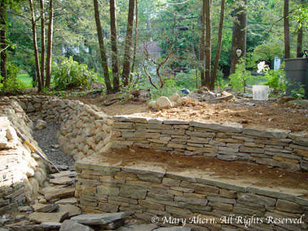 The terraced stone walls opened into the dry stream bed I designed 8 years ago