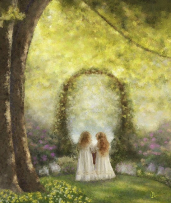 Sisters, a mixed media painting by the Artist, Mary Ahern