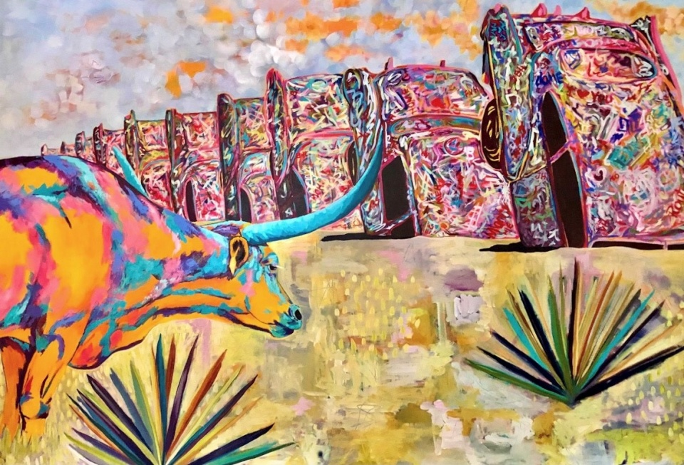 Cadillac Ranch with Longhorn by Amy Hutto