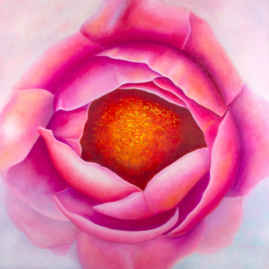 "Centering - Pink Peony 36x36"" GW Oil on Canvas. $5,000 by the artist, Mary Ahern."