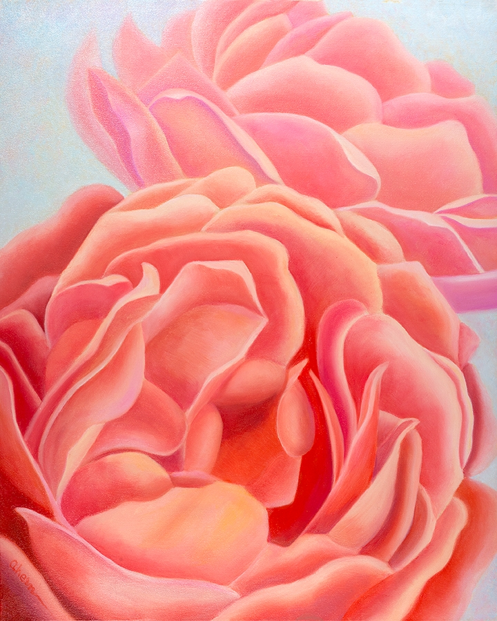 "We Are Sisters-Coral Roses 30x24"" GW Oil on Canvas. Mary Ahern Artist."