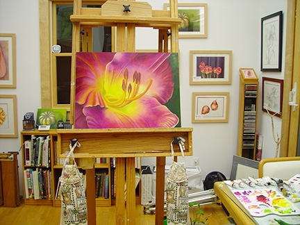 Mary Ahern's studio with painting in progress