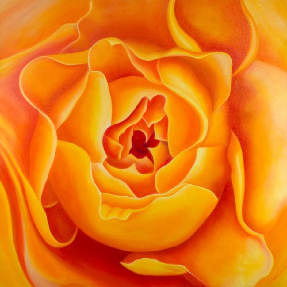 Original Oil Paintings by the Artist, Mary Ahern. Free Spirit Rose Bud.
