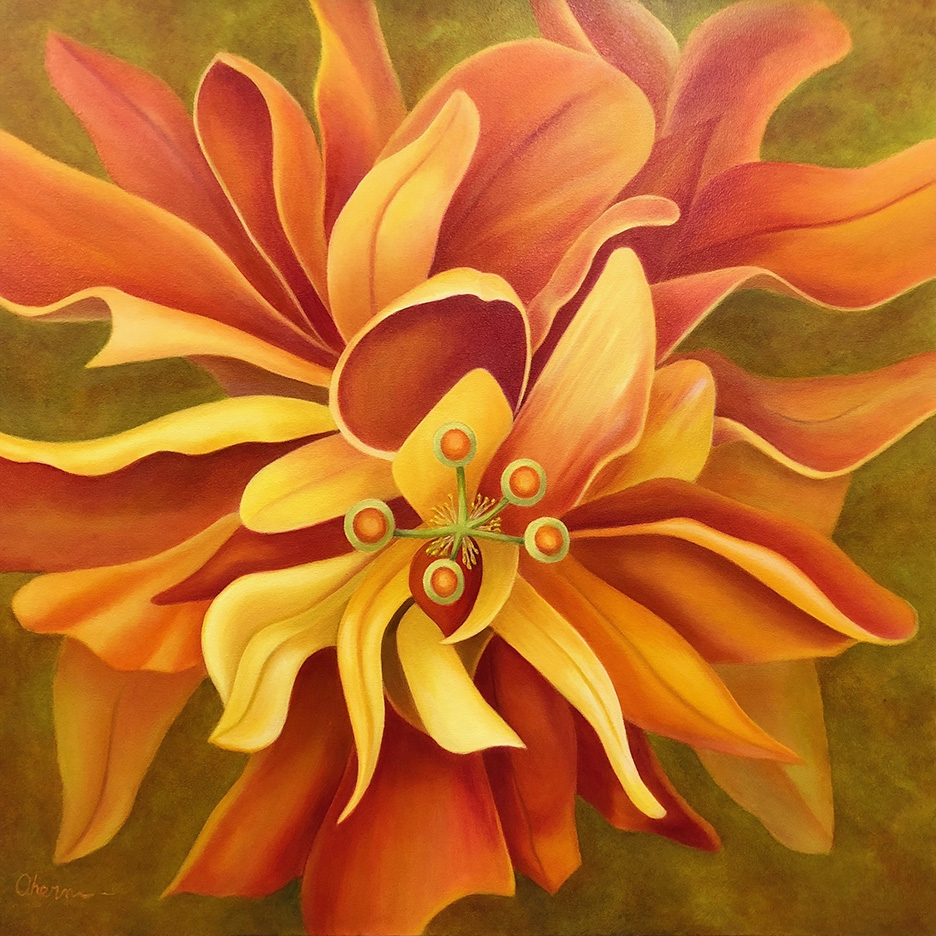 """Pay Attention Here - Orange Hibiscus 36x36""""GW"""
