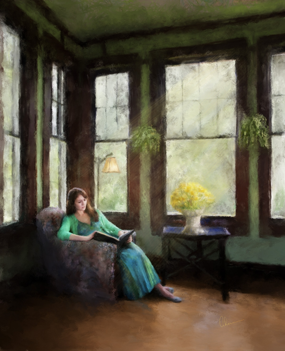 Cassie Reading - painting by the Artist, Mary Ahern