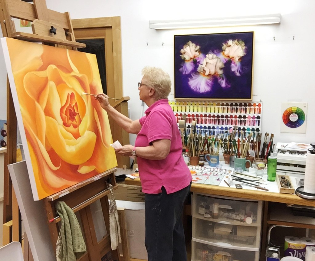 An oil painting in progress by the artist. Mary Ahern