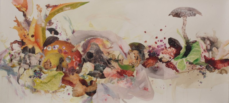 """Title: """"Hulusi's Silken Road"""" Medium: Red and yellow beet dye, spinach particles and dye, cherries, pomegranate, artist's saliva, digitally altered photographs, acetone photograph transfer, colored pencil, and ink on paper. Dimensions: 36"""" x 78"""" Year: 2013"""
