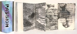 Acetone transfers, graphite, thread and paper in altered book spine; 2013