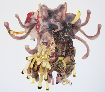 """""""Sus Meduscrofa""""; Black rice dye, turmeric dye, rust, digitally altered photographs, rice and metallic papers, ink and colored pencil on paper; 2016; 46 x 51 cm."""