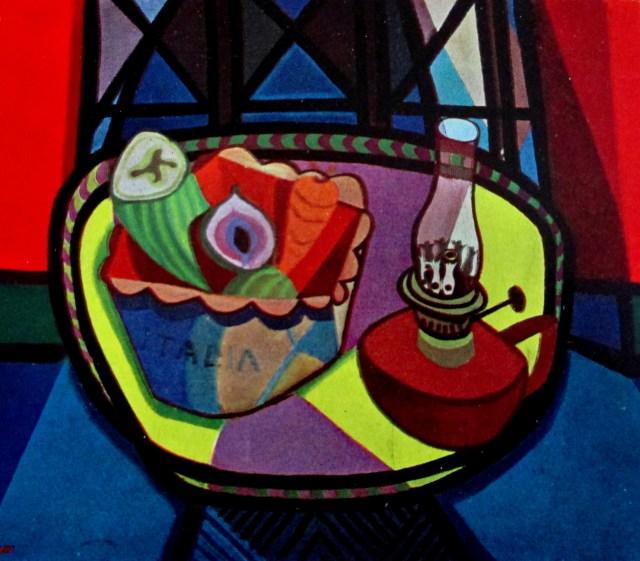 robert macbryde - table in a red room