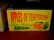 Apples of Temptation, carton box, Miller Orchards, Harcourt, fruit box illustrationw, is it art?