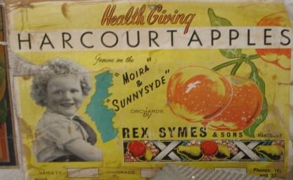Rex Symes & Sons, Harcourt Apples fruit box, Harcourt apples, Moira orchard, Sunnysyde orchard, apple orchards, fruit box illustrations, is it art?