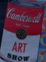 Camberwell Art Show soup can advertisement inspired by Andy Warhol's soup can art