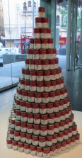 Tess Saunders | Consume (595 soup can pyramid depicting consume, crave, desire and want)