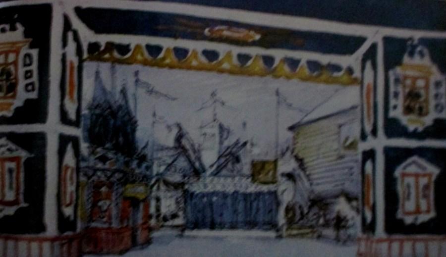 Alexandre Benois | Design for Petrushka scene Buttermarket fairground St Petersburg
