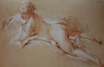 Francois Boucher | Young girl reclining (red and white chalk over black chalk under-drawing prep study for painting Dark haired Odalisque 1743 - Irish beauty Miss O'Murphy mistress of Louis XV)