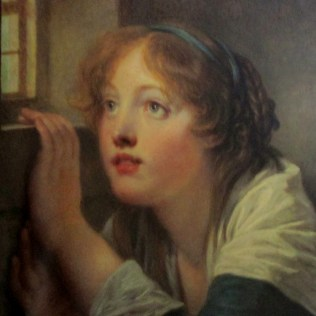 Jean-Baptiste Greuze | A young girl at a window oil on panel 48x40cm