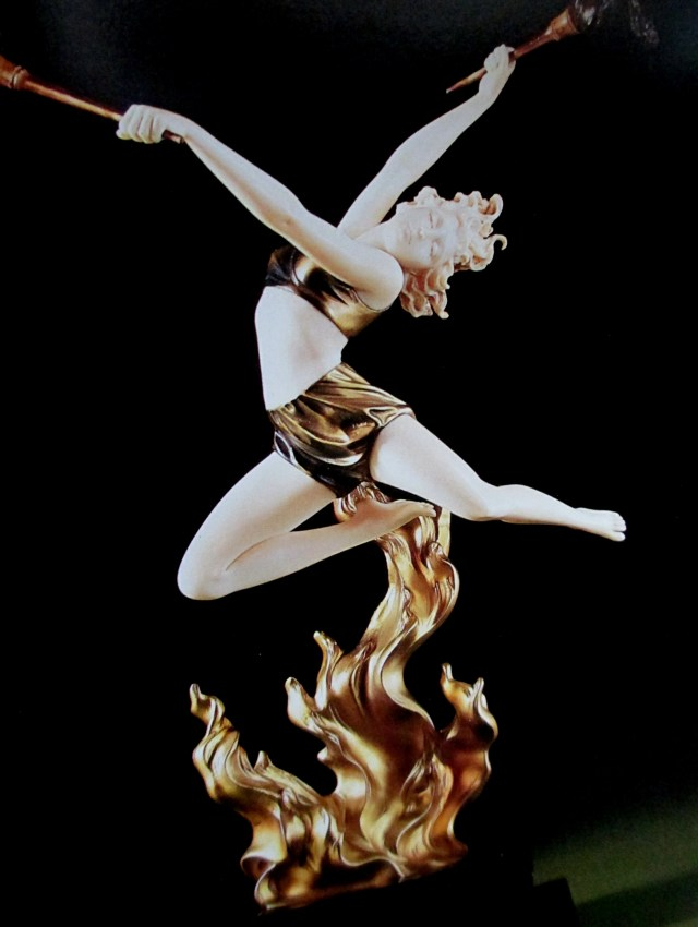 after Johann Philipp Fernand Preiss | Flame Leaper bronze and ivory figure of acrobat ca 1930