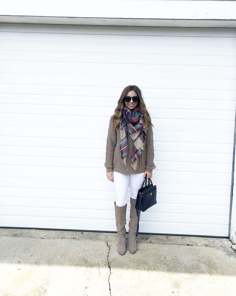 5a5bca3151c wrap plaid scarf - white jeans with knee high boots - gucci sunglasses -  navy tory