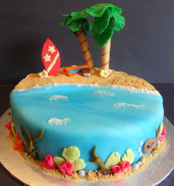 Beach Cake Decorations Buttercream