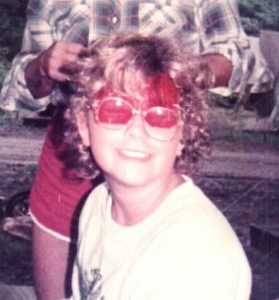 Young Maryann at Camp with Pink glasses