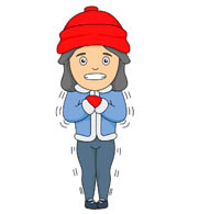 girl wearing hat gloves shivering in cold