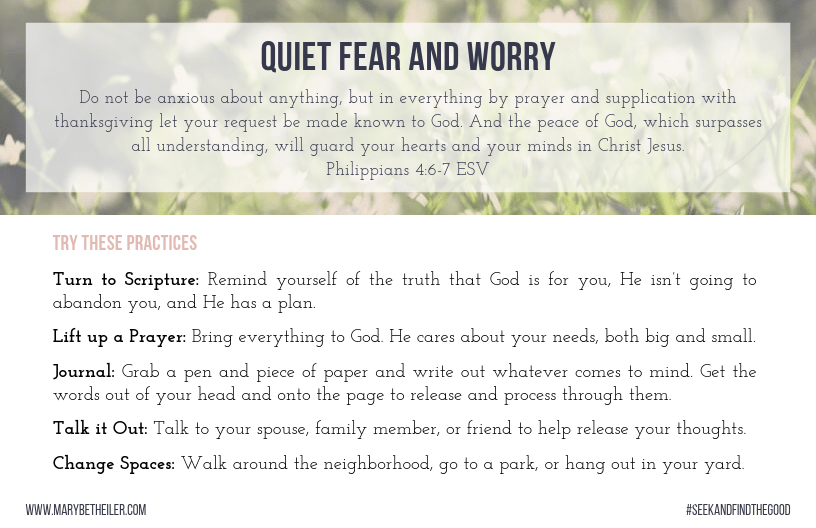 Do you struggle to overcome fear and worry? Download a list of practices to help quiet fear and worry when they begin threatening to take hold of your day.
