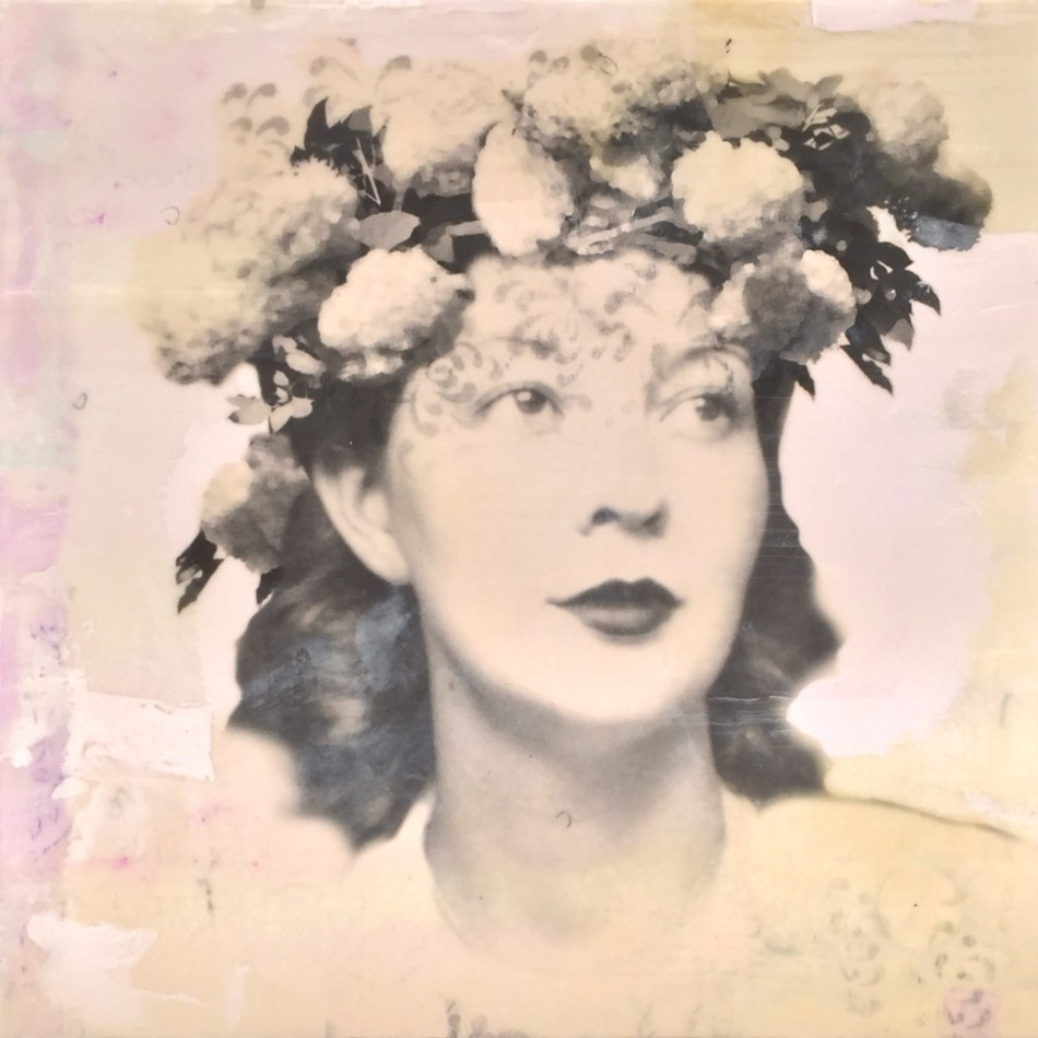 """Pearl, photo collage, encaustic and mixed media, 12x12x2"""" ©MarybethRothman"""