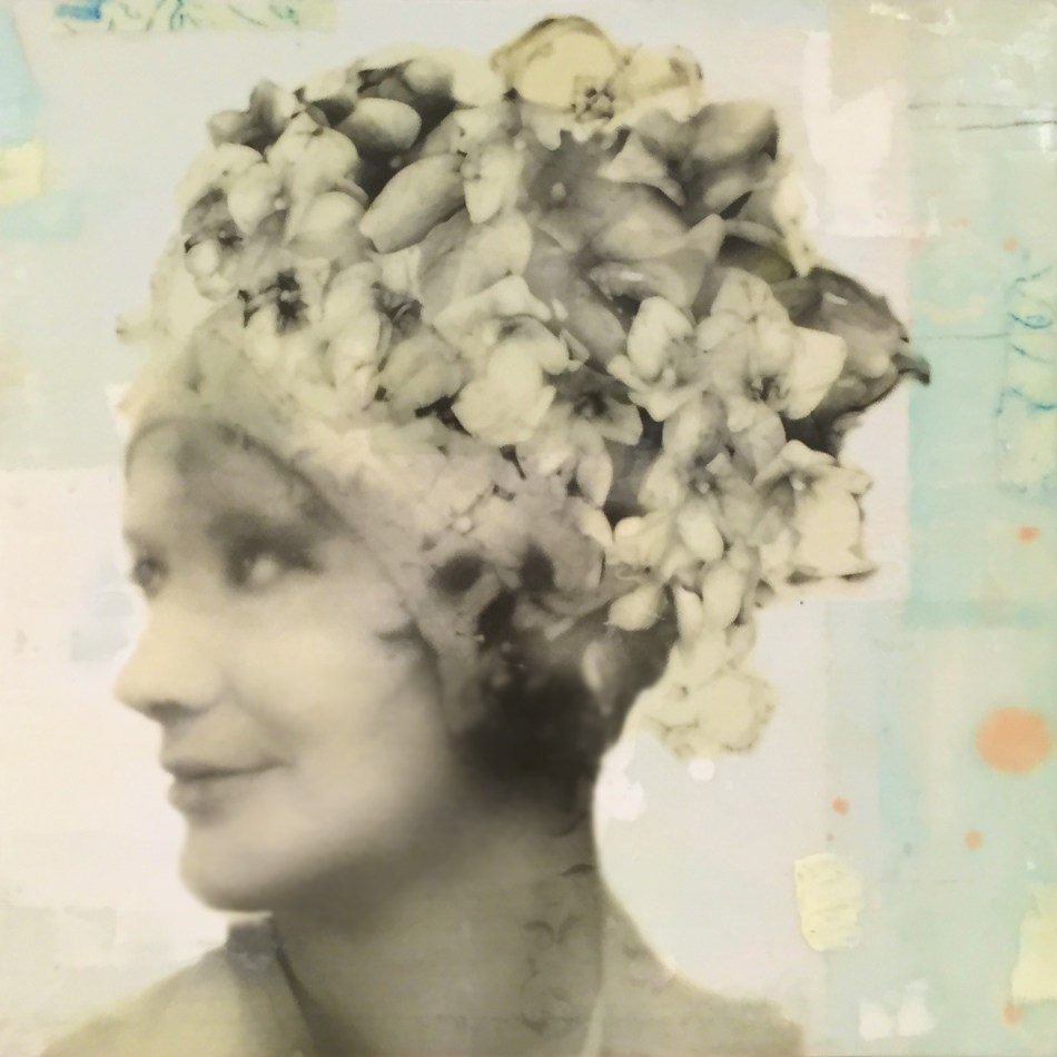 "Lola, photo collage, encaustic and mixed media, 12x12x2"" ©MarybethRothman"