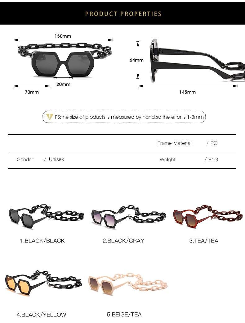 2020 Luxury Brand Designer Fashion Square Oversized Sunglasses Women Vintage Chain Sun Glasses For Female UV400 gafas de sol