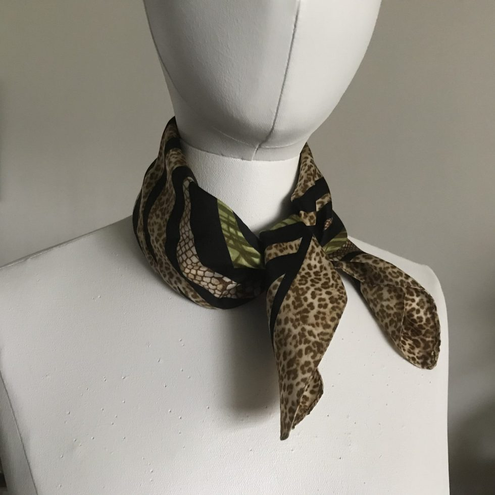 Green & Brown Leopard Print Chiffon Square Scarf