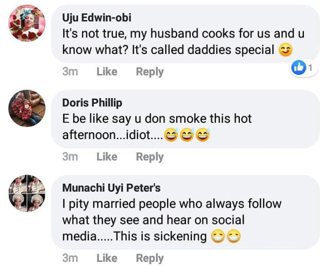 Argument ensues as man opined that 'a married man who cooks for his wife has lost his dignity as a man'
