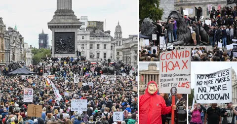 10,000 anti-lockdown protesters gather in London to claim coronavirus is 'a hoax'