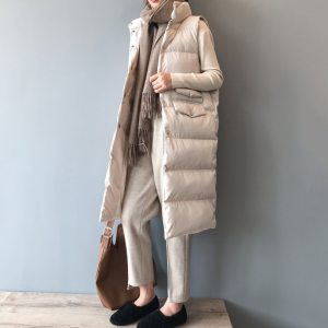 Women Coat Winter Jacket Long Warm Vest Mandarin Collar Cotton