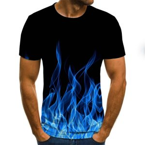 Flame men's T-shirt summer fashion short-sleeved 3D round neck tops