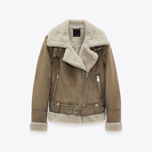 Women's wear thick warm winter wool jacket belt