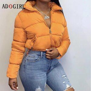 Winter Solid Standard Collar Short Jacket Fashion Puffer Coat Warm