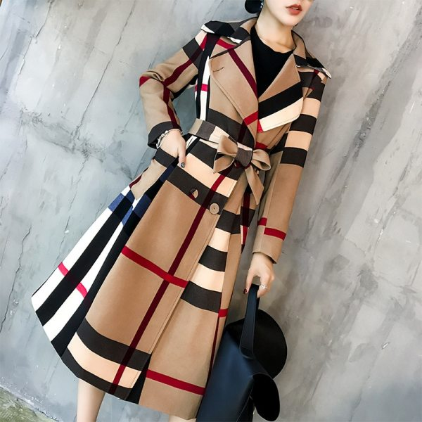 Autumn and winter new female lapel mid-length simple color matching