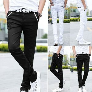 Men Formal Business Pants Slim Casual Straight Leg Trousers